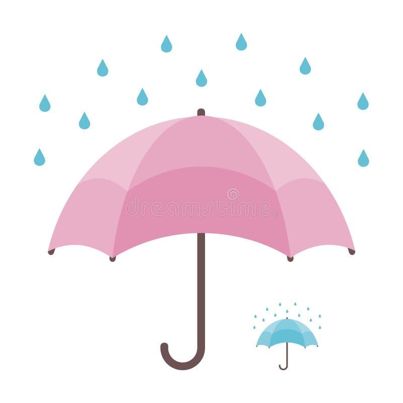 Guarda-chuva e chuva isolados no lement branco do fundo e do bônus ilustração stock