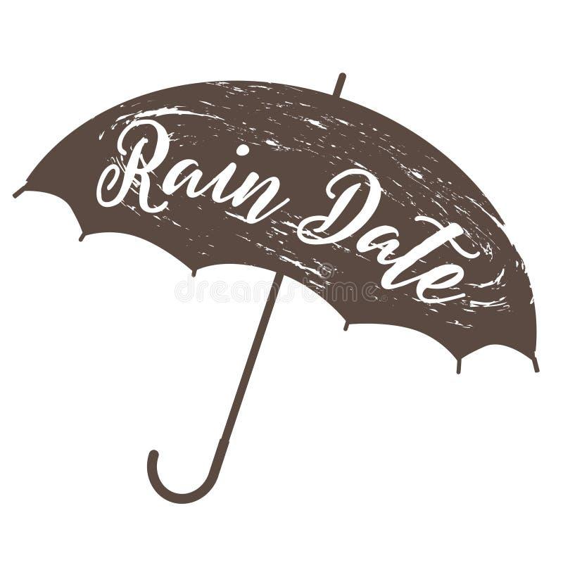 Guarda-chuva e texto do grunge da data de chuva ilustração royalty free