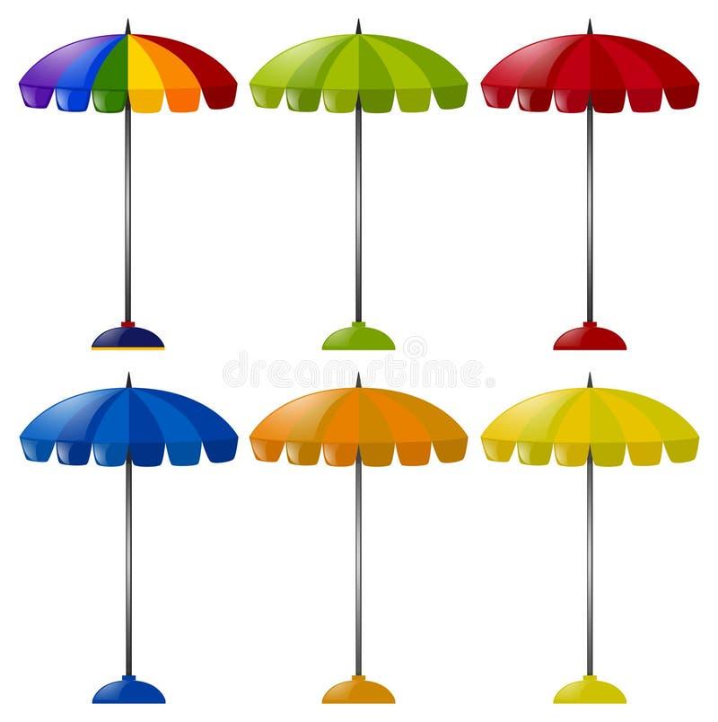 Guarda-chuva em seis cores diferentes ilustração royalty free