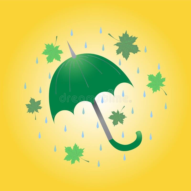 Guarda-chuva, folhas de bordo tiradas mão e gotas verdes arranjados em um círculo Estilo liso ilustração stock