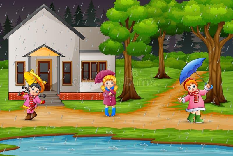 Guarda-chuva levando da menina dos desenhos animados três sob a chuva ilustração royalty free