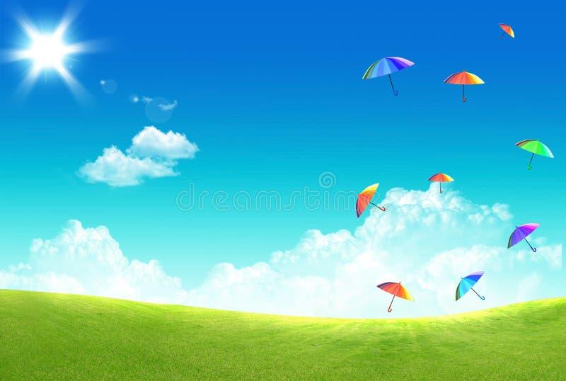 Download Guarda-chuva Multicolor Que Flutua No Céu Foto de Stock - Imagem de flutuador, grama: 16871754