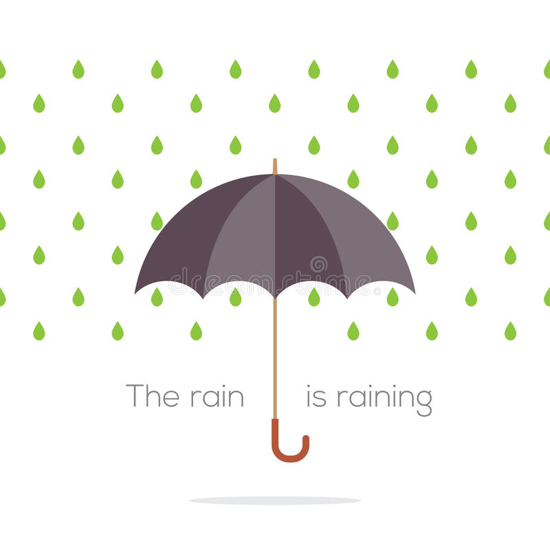 Guarda-chuva na chuva ilustração royalty free