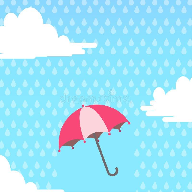 guarda-chuva no ar com chover ilustração stock