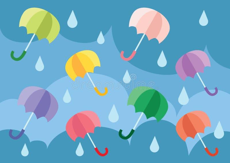 Guarda-chuva que flutua no céu ilustração stock