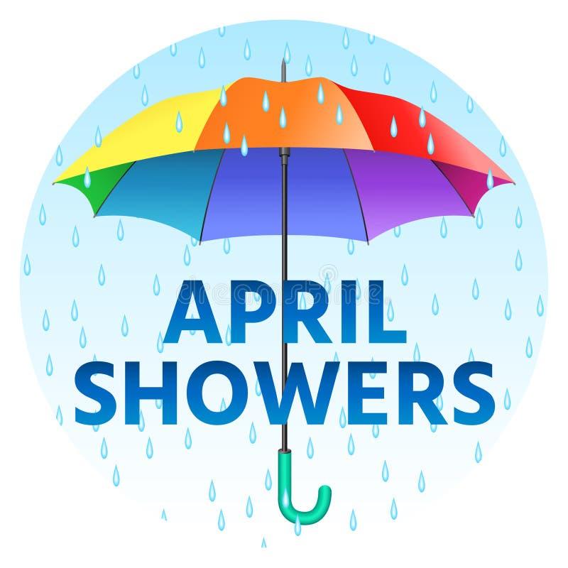 Guarda-chuva realístico colorido Abra o guarda-chuva em cores do arco-íris ilustração royalty free