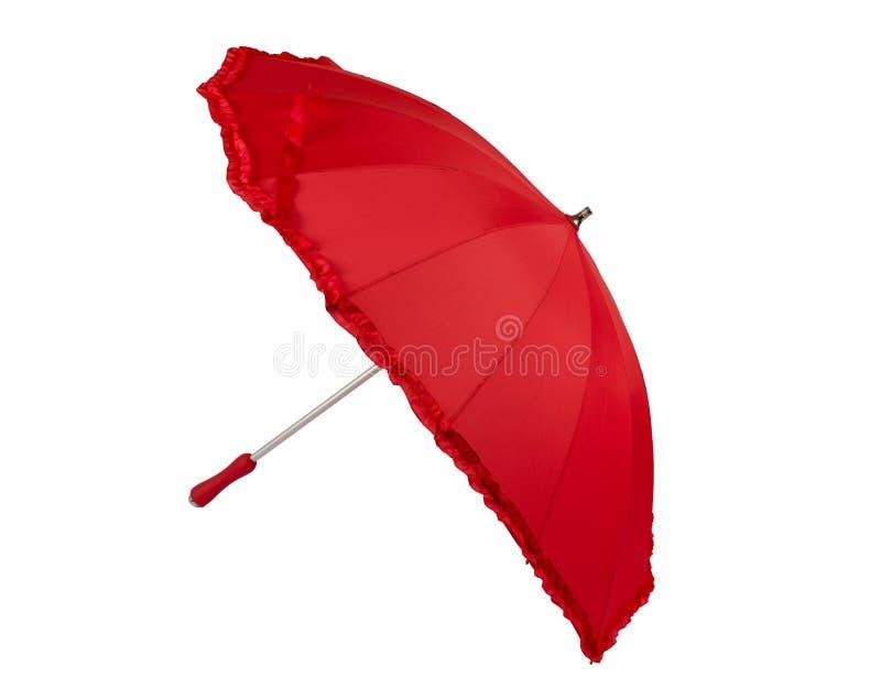 Guarda-chuva vermelho aberto dado forma coração fotos de stock