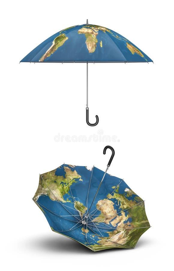 Guarda-chuvas da terra ilustração do vetor