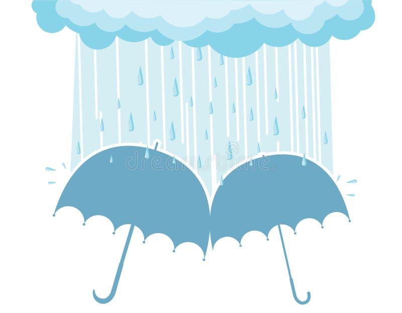 Guarda-chuvas sob nuvens chovendo ilustração do vetor