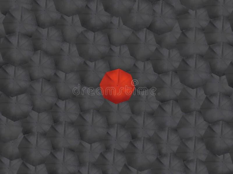 Guarda-chuvas vermelhos do preto do guarda-chuva que pintam a ilustração foto de stock