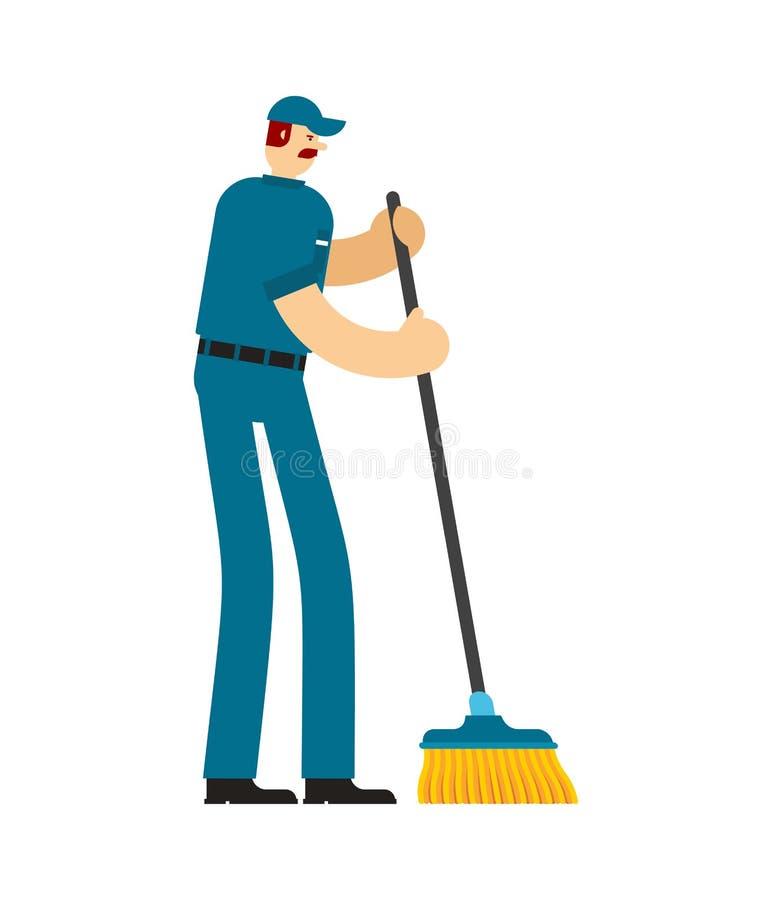 Guarda de serviço com escova da lavagem homem do trabalhador do serviço Homem mais limpo swabber ilustração stock