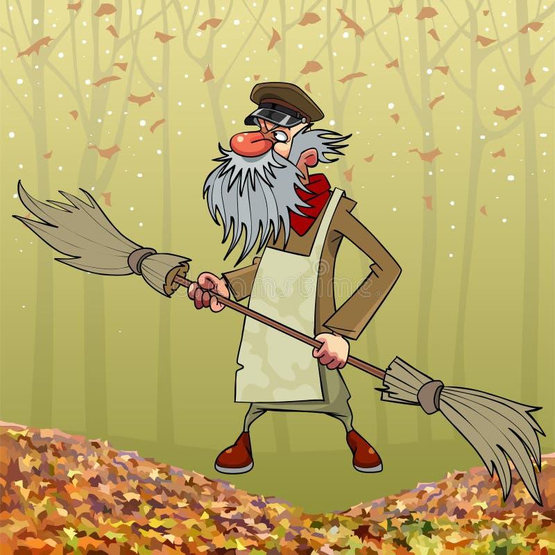 Guarda de serviço farpado dos desenhos animados com a vassoura tomada partido dobro no parque do outono ilustração do vetor