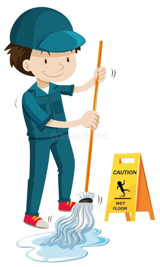 Guarda de serviço que esfrega o assoalho molhado ilustração do vetor