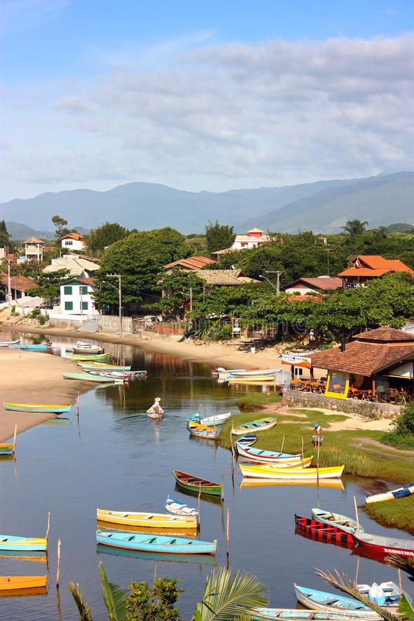 GUARDA DO EMBAU, SANTA CATARINA, BRAZIL. Panoramic view of village next to the river. stock image