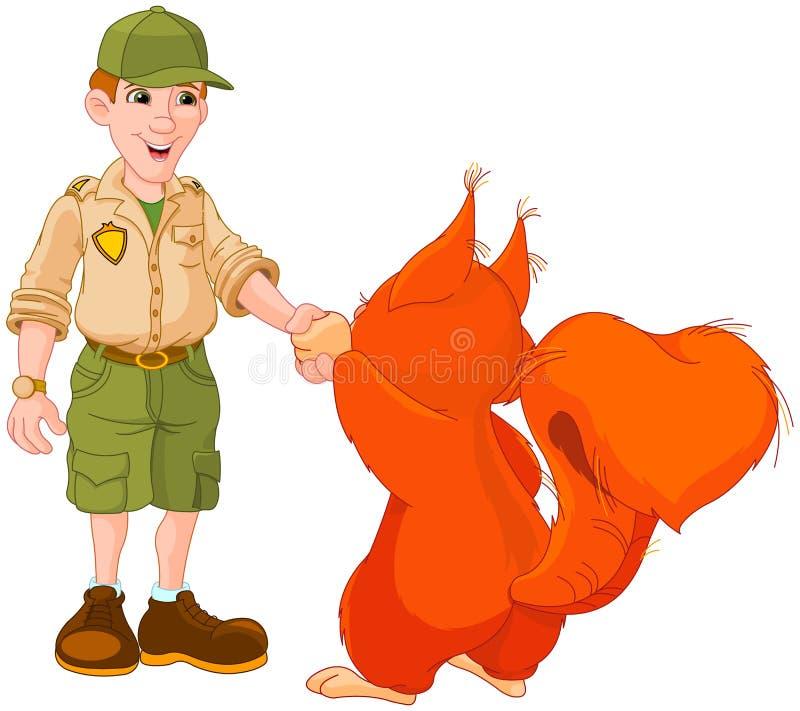 Guarda florestal com squirre