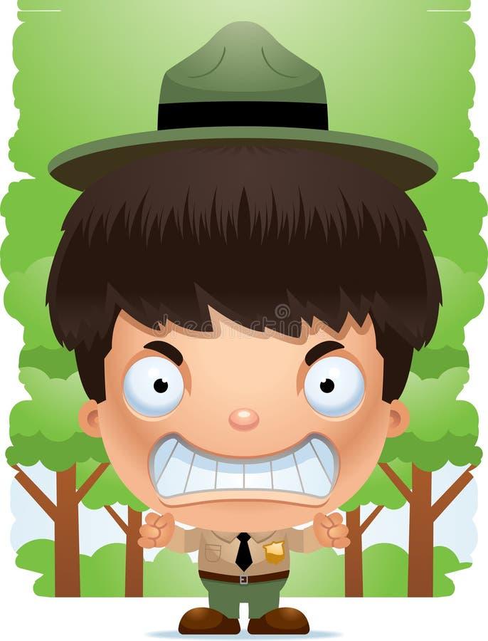 Guarda florestal de parque irritada do menino dos desenhos animados ilustração do vetor