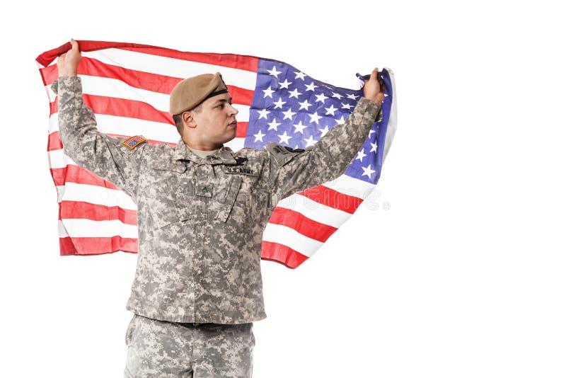 Guarda florestal do exército dos EUA com bandeira americana imagens de stock royalty free