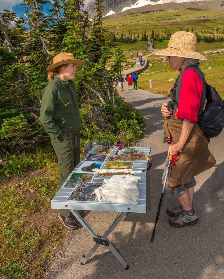 Guarda florestal interpretativo ao longo do parque nacional de geleira da fuga da prancha imagens de stock royalty free