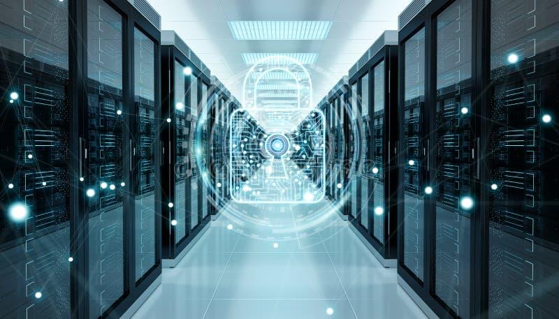Guarda-fogo ativado na rendição do centro de dados 3D da sala do servidor ilustração stock