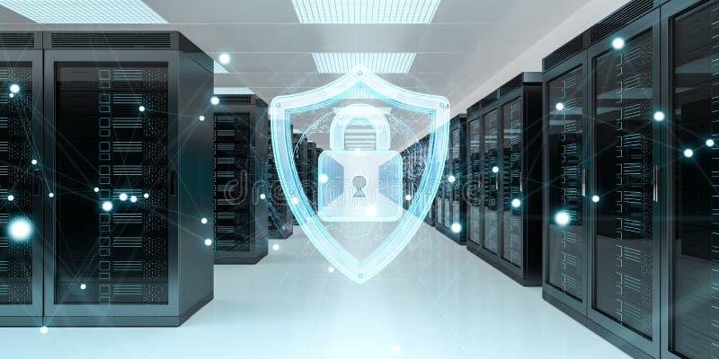 Guarda-fogo ativado na rendição do centro de dados 3D da sala do servidor ilustração do vetor