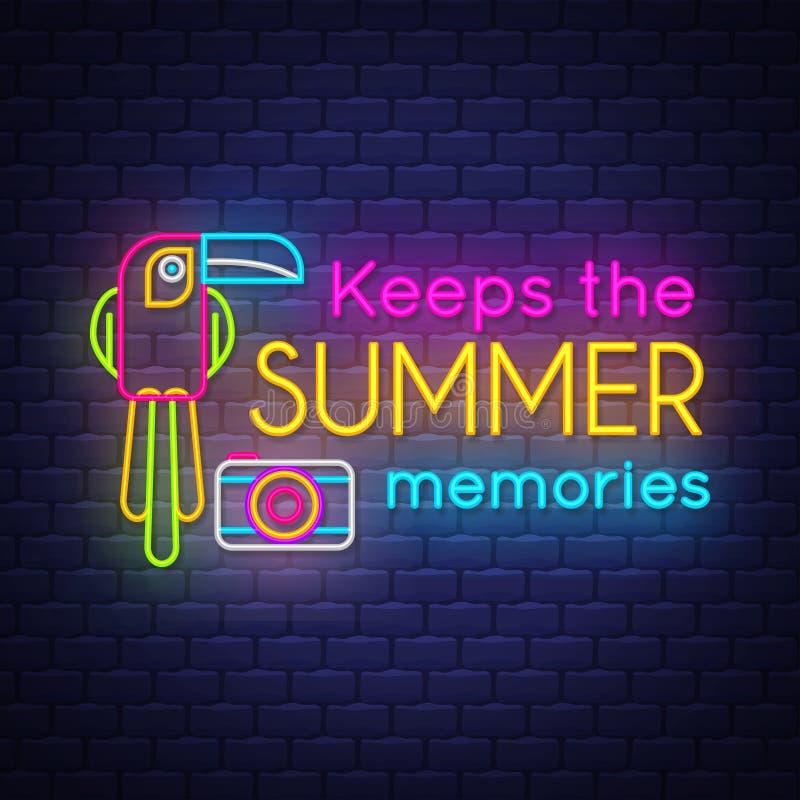 Guarda las memorias del verano Bandera de las vacaciones de verano Bandera de ne?n stock de ilustración