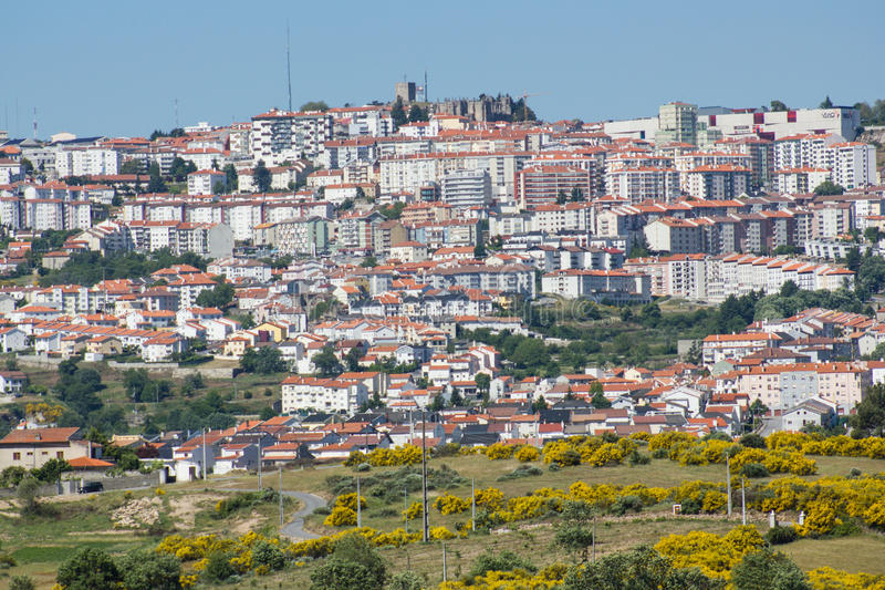 Guarda, ogólny widok wysoki miasto w Portugalia zdjęcia stock