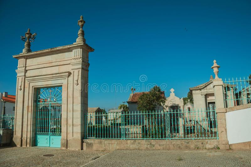 Cemetery gateway with iron fence at Guarda stock image