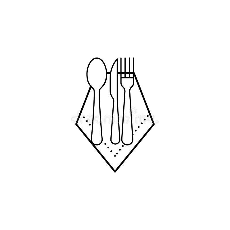 Guardanapo, colher, faca, ícone da forquilha Pode ser usado para a Web, logotipo, app móvel, UI, UX ilustração stock