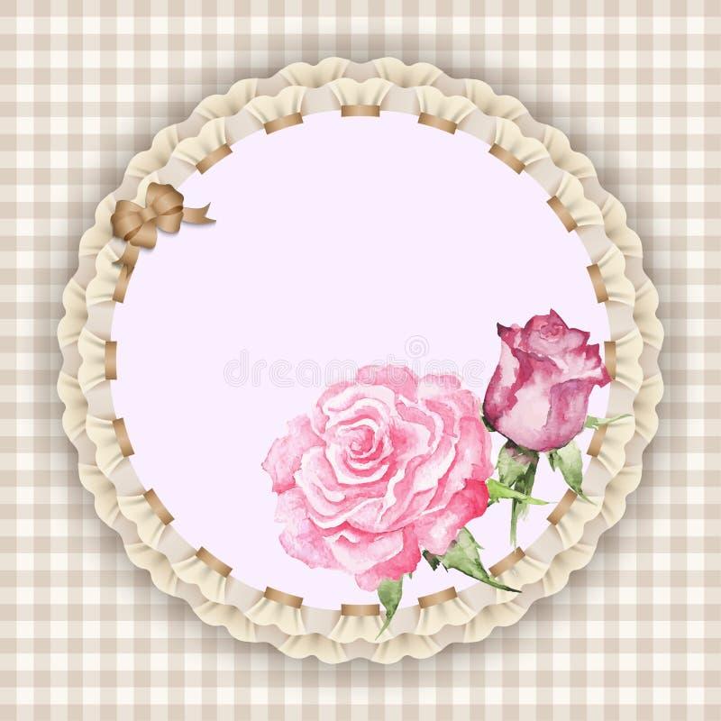 Guardanapo com rosas ilustração royalty free
