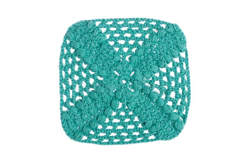 Guardanapo decorativo feito à mão, feito crochê com linhas coloridas imagem de stock