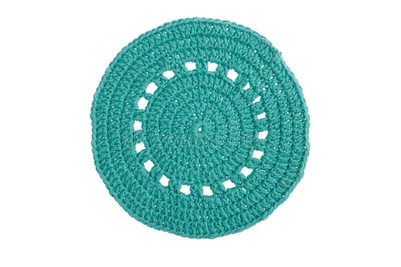 Guardanapo decorativo feito ? m?o, feito croch? com linhas coloridas imagem de stock