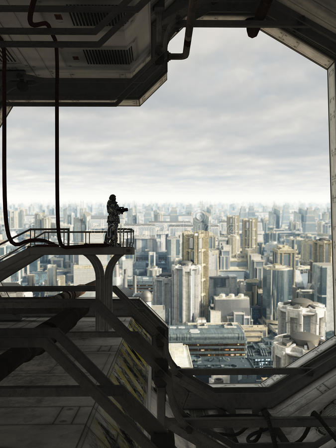 Guardando a cidade futura ilustração do vetor