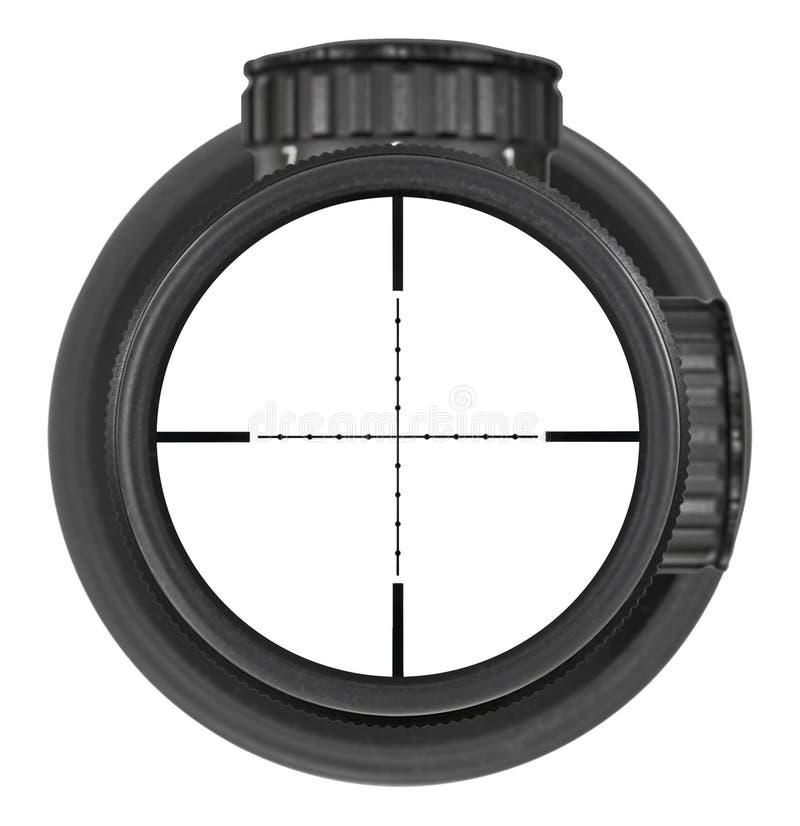 Guardando con la nuova portata del fucile con il reticolo del Mil-punto, tre percorsi di ritaglio immagini stock libere da diritti