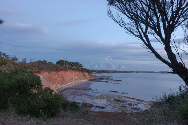 Guardando indietro verso la baia di Coronet, Victoria, Australia fotografia stock libera da diritti