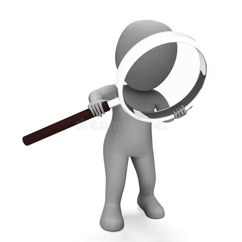 Guardando l'esame di manifestazioni del carattere della lente controlli e Scrut illustrazione di stock
