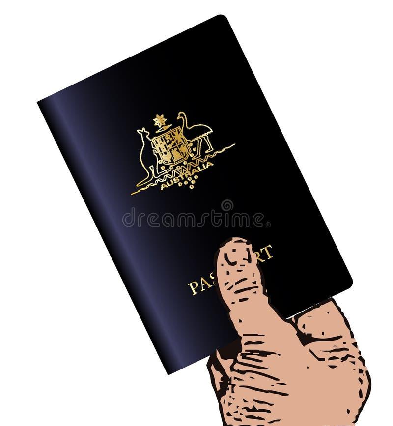 Guardando o passaporte australiano ilustração stock