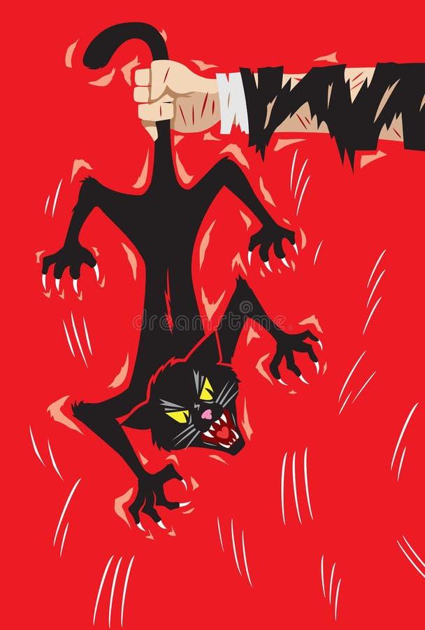 Guardando um gato irritado pela cauda ilustração do vetor