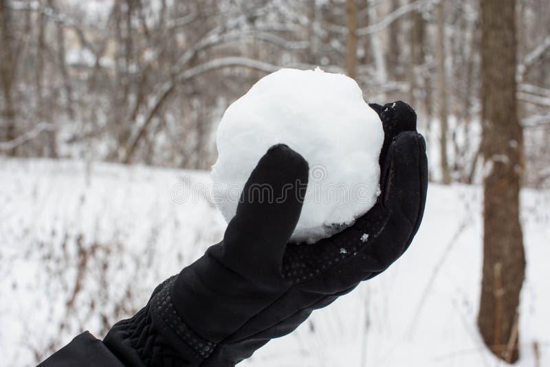 Guardando uma bola de neve com luvas pretas imagem de stock royalty free