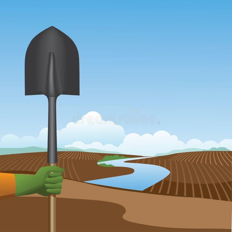 Guardando uma pá antes de um fundo lavrado da exploração agrícola ilustração royalty free