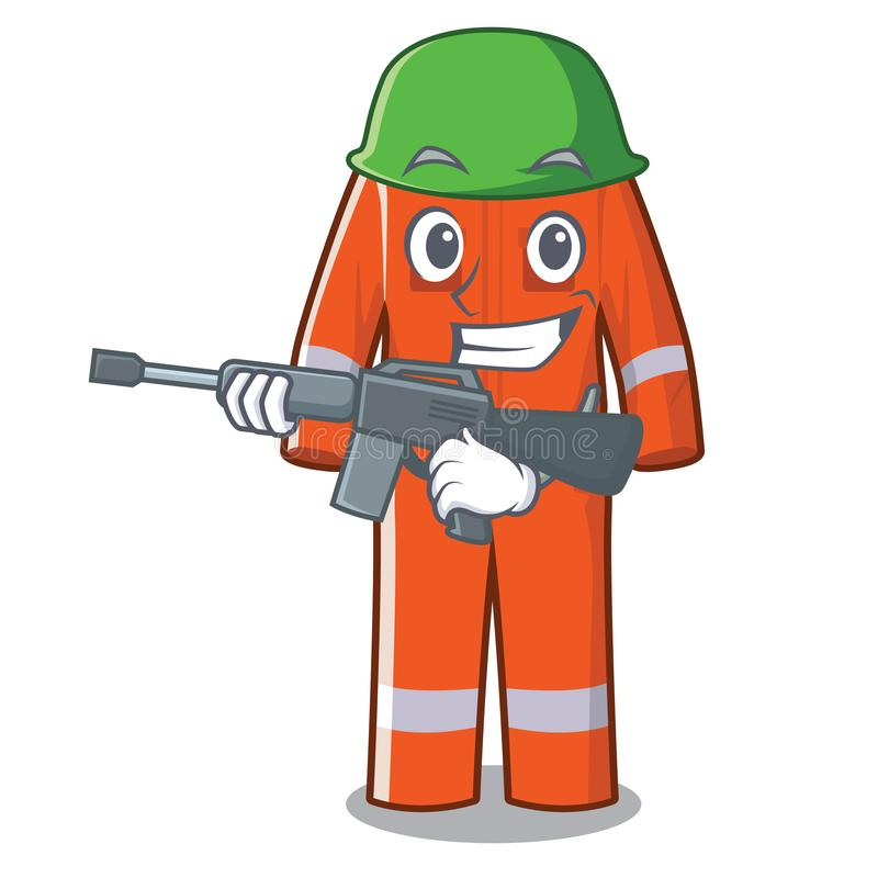 Guardapolvos de trabajo del ejército en la forma de la historieta stock de ilustración