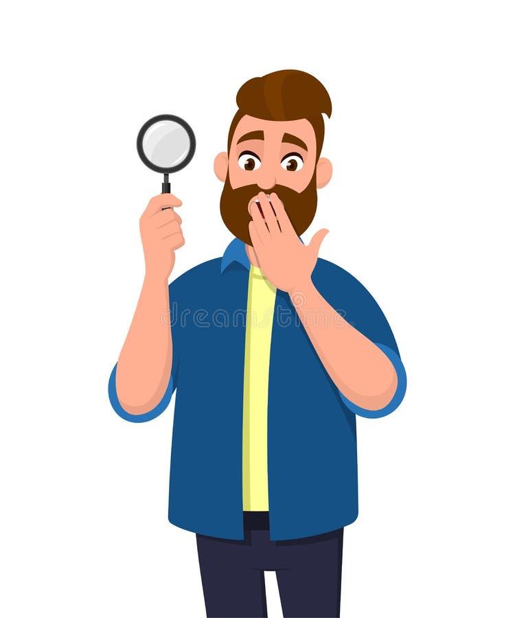 Guardar chocado do homem novo/mostrando a lupa e cobrindo a mão na boca A busca, achado, descoberta, analisa, inspeciona ilustração do vetor