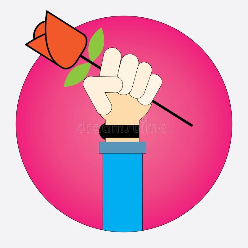 Guardar do homem murcha a rosa vermelha ilustração royalty free