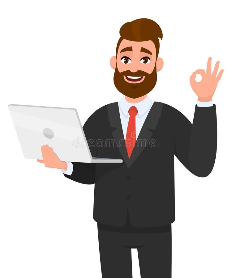 Guardar farpado feliz do homem de negócio/que mostram um portátil novo o mais atrasado e gesticular/que faz a aprovação ou o sina ilustração stock