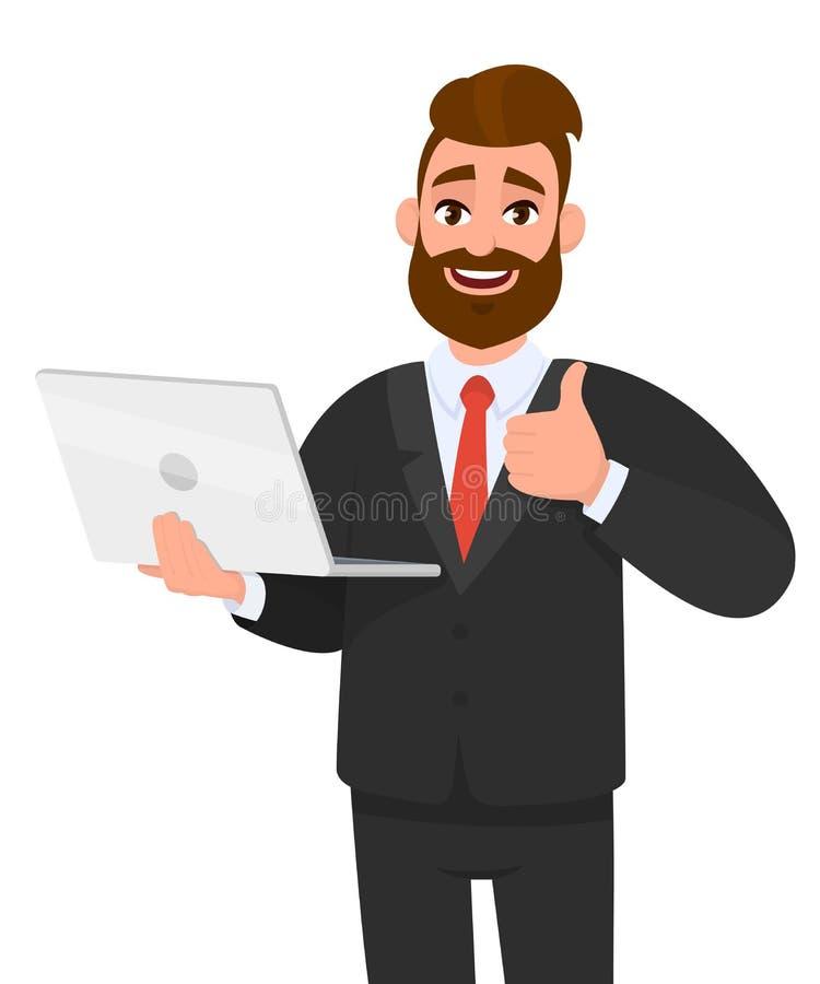 Guardar farpado novo feliz do homem de negócio/que mostram um portátil novo o mais atrasado e gesticular/que faz os polegares aci ilustração stock