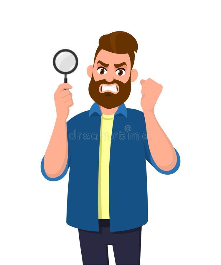 Guardar irritado do homem novo/mostrando a lupa e aumentando o punho da mão para expressar a raiva A busca, achado, descoberta, a ilustração stock