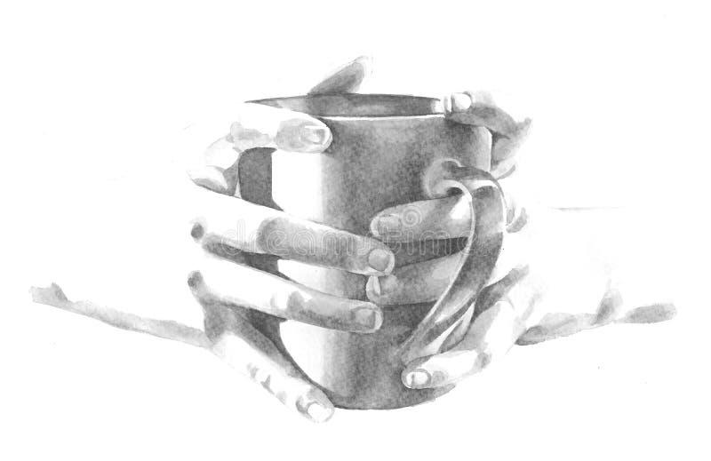 Guardarando o copo da caneca de café na ilustração das mãos ilustração do vetor