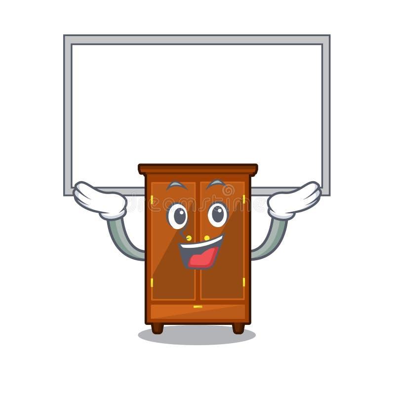 Guardaroba alto del bordo nella camera da letto della mascotte di a illustrazione di stock