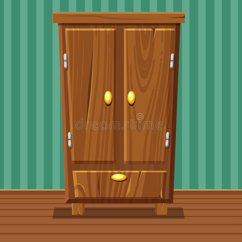 Guardaroba chiuso divertente del fumetto, mobilia di legno del salone illustrazione di stock
