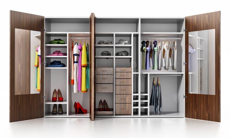 Guardaroba con i vestiti e gli accessori isolati su fondo bianco illustrazione 3D illustrazione di stock