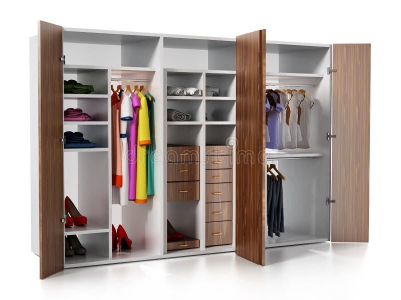 Guardaroba con i vestiti e gli accessori isolati su fondo bianco illustrazione 3D illustrazione vettoriale
